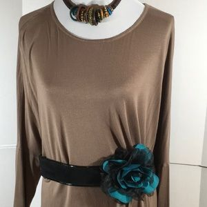 WHBM suede and elastic embellished belt NWT